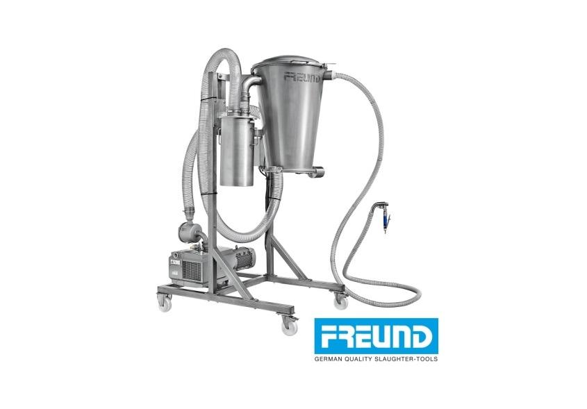 System próźniowy FREUND VSS do odsysania miazgi mostno-mięsnej, rdzenia oraz tłuszczu.
