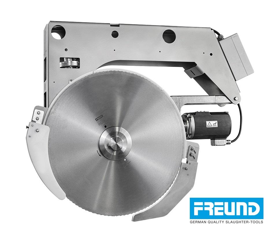 Krajalnica przemysłowa FREUND ZKM75 podwieszana. Średnica tarczy 750 mm.
