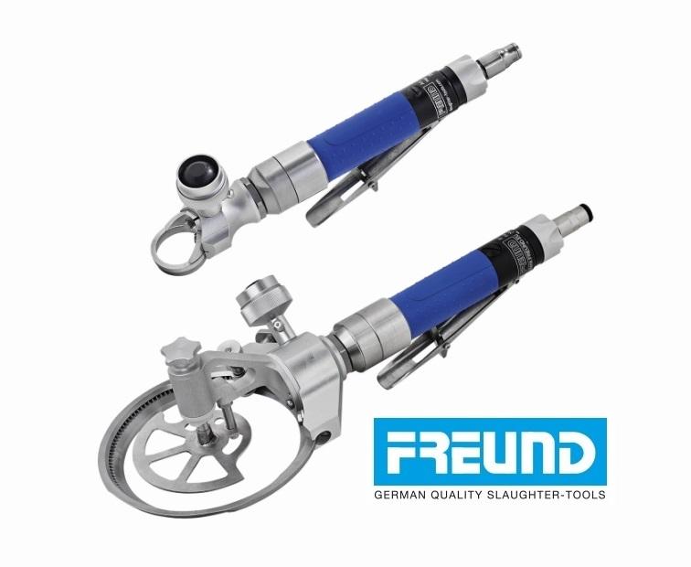 Trymery pneumatyczne FREUND, średnica 35 mm oraz 128 mm ze zderzakiem głębkości.