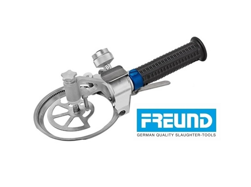 Trymer elektryczny FREUND, średnica noża 128 mm, ze zderzakiem głębkości oraz dźwignią start-stop.