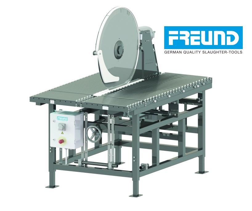 Krajalnica przemysłowa FREUND ZKM75 - stojąca, ze stołem rolkowym. Średnica tarczy 750 mm.